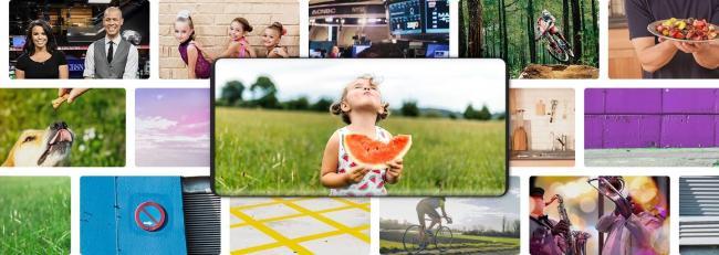В центре  Galaxy с изображением ребенка, наслаждающегося арбузом. На заднем плане видны миниатюры разных программ, для демонстрации возможности выбора разного контента на других каналах.
